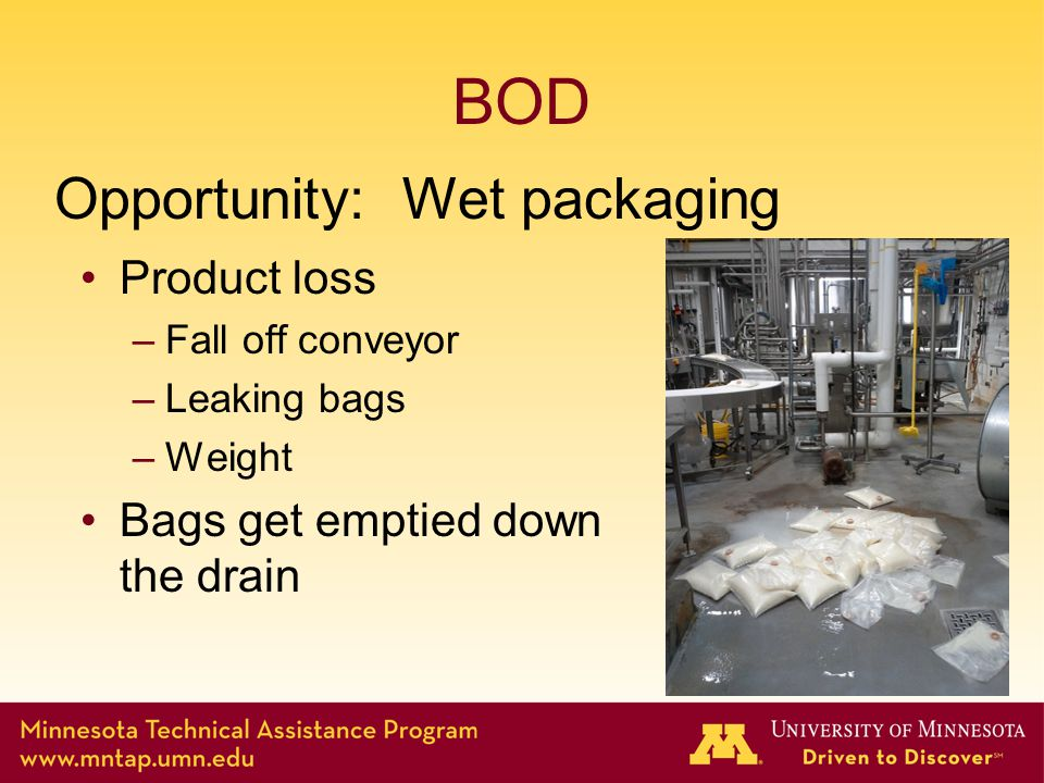 BOD Product loss –Fall off conveyor –Leaking bags –Weight Bags get emptied down the drain Opportunity: Wet packaging
