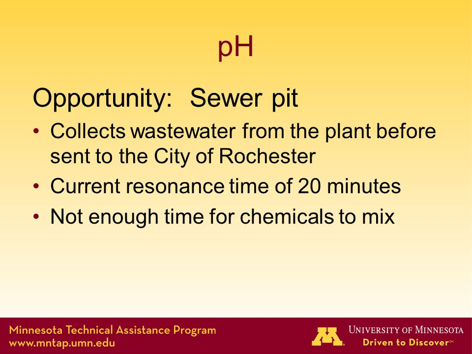 pH Opportunity: Sewer pit Collects wastewater from the plant before sent to the City of Rochester Current resonance time of 20 minutes Not enough time