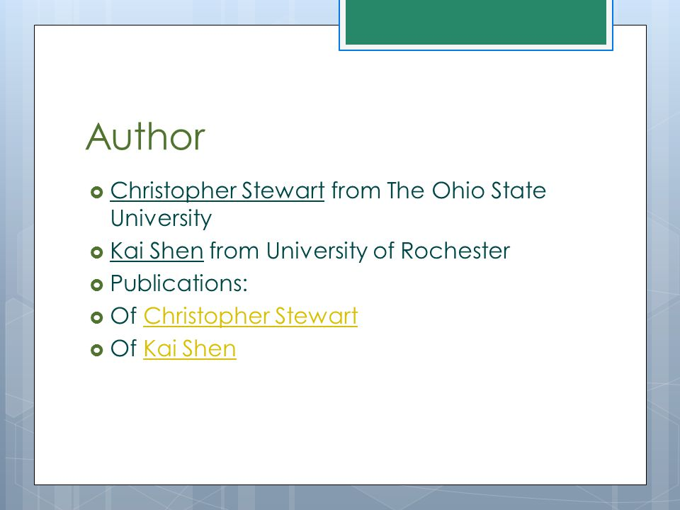 Author  Christopher Stewart from The Ohio State University  Kai Shen from University of Rochester  Publications:  Of Christopher StewartChristophe