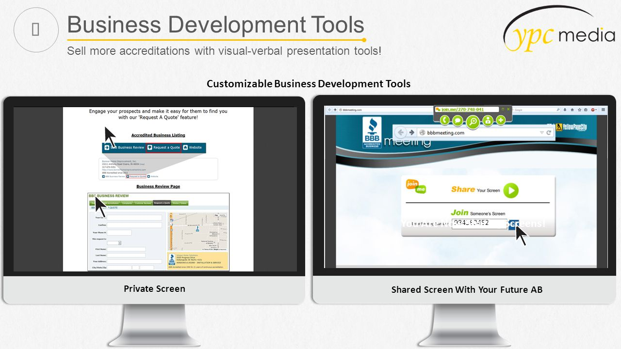 Business Development Tools Sell more accreditations with visual-verbal presentation tools.