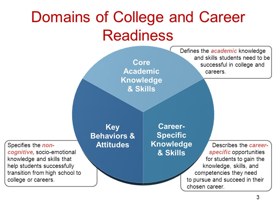 Domains of College and Career Readiness 3 Defines the academic knowledge and skills students need to be successful in college and careers.