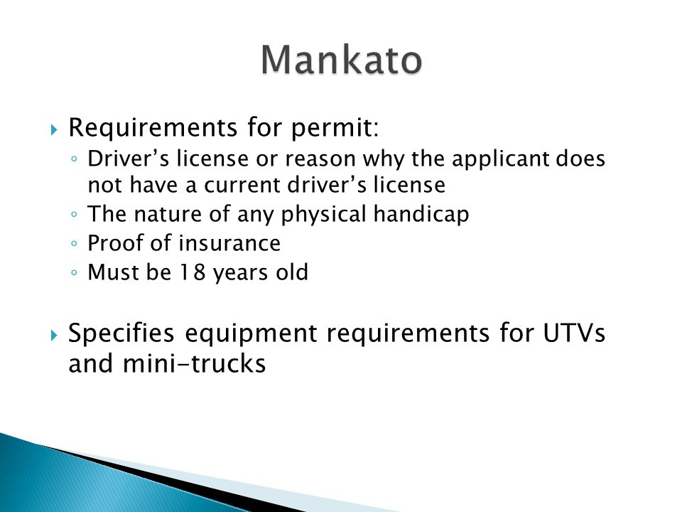  Regulates golf carts  Permit required for use  Requirements for permit: ◦ Driver's license or submit a certificate from a physician that applicant can safely operate the vehicle ◦ Proof of insurance