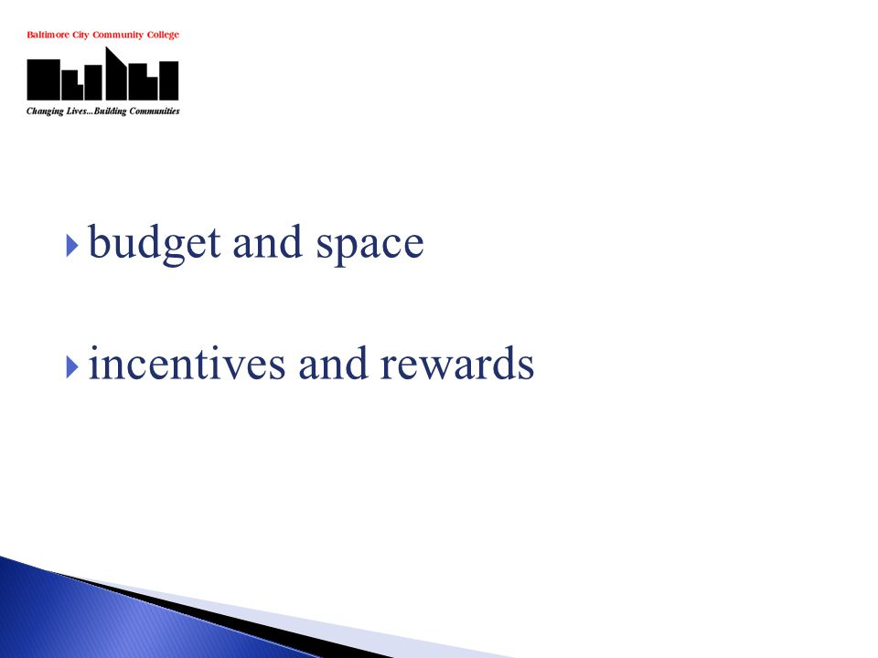  budget and space  incentives and rewards