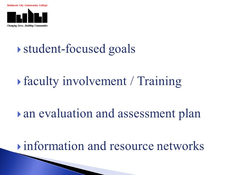  student-focused goals  faculty involvement / Training  an evaluation and assessment plan  information and resource networks