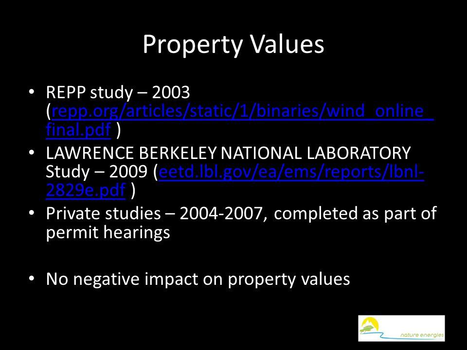 Property Values REPP study – 2003 (repp.org/articles/static/1/binaries/wind_online_ final.pdf )repp.org/articles/static/1/binaries/wind_online_ final.pdf LAWRENCE BERKELEY NATIONAL LABORATORY Study – 2009 (eetd.lbl.gov/ea/ems/reports/lbnl- 2829e.pdf )eetd.lbl.gov/ea/ems/reports/lbnl- 2829e.pdf Private studies – 2004-2007, completed as part of permit hearings No negative impact on property values