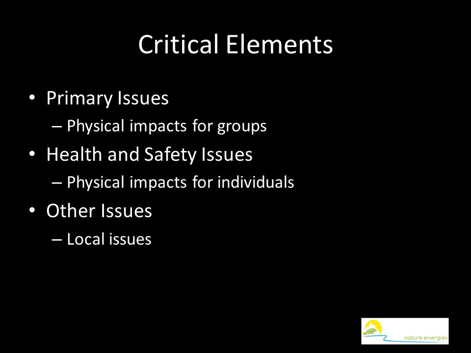 Critical Elements Primary Issues – Physical impacts for groups Health and Safety Issues – Physical impacts for individuals Other Issues – Local issues