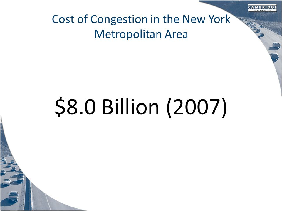 Cost of Congestion in the New York Metropolitan Area $8.0 Billion (2007)