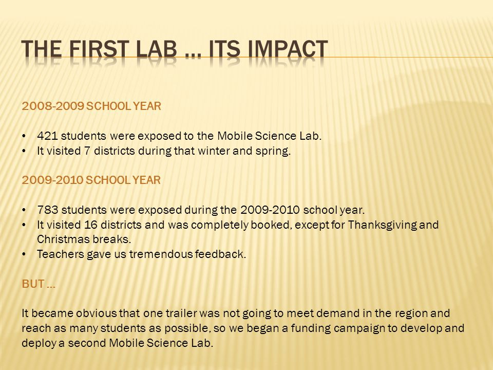 2008-2009 SCHOOL YEAR 421 students were exposed to the Mobile Science Lab.