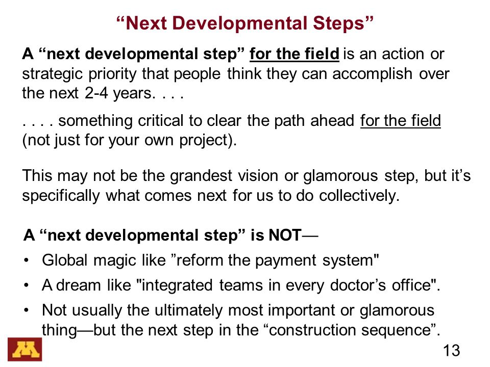 Next Developmental Steps A next developmental step for the field is an action or strategic priority that people think they can accomplish over the next 2-4 years........