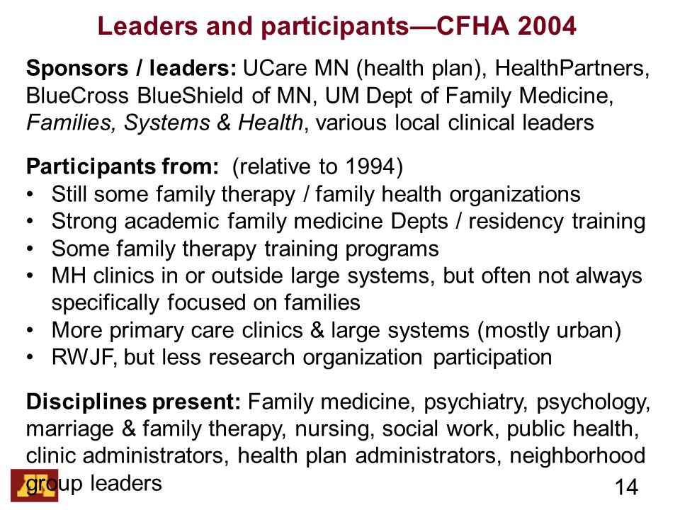Leaders and participants—CFHA 2004 14 Sponsors / leaders: UCare MN (health plan), HealthPartners, BlueCross BlueShield of MN, UM Dept of Family Medicine, Families, Systems & Health, various local clinical leaders Participants from: (relative to 1994) Still some family therapy / family health organizations Strong academic family medicine Depts / residency training Some family therapy training programs MH clinics in or outside large systems, but often not always specifically focused on families More primary care clinics & large systems (mostly urban) RWJF, but less research organization participation Disciplines present: Family medicine, psychiatry, psychology, marriage & family therapy, nursing, social work, public health, clinic administrators, health plan administrators, neighborhood group leaders