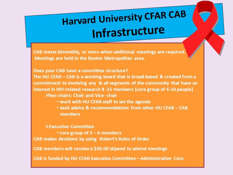 Harvard University CFAR CAB Infrastructure CAB meets bimonthly, or more when additional meetings are required.