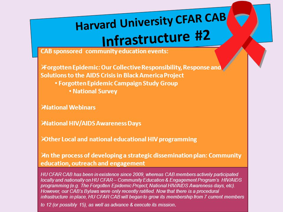 Harvard University CFAR CAB Infrastructure #2 CAB sponsored community education events:  Forgotten Epidemic: Our Collective Responsibility, Response and Solutions to the AIDS Crisis in Black America Project Forgotten Epidemic Campaign Study Group National Survey  National Webinars  National HIV/AIDS Awareness Days  Other Local and national educational HIV programming  In the process of developing a strategic dissemination plan: Community education, outreach and engagement HU CFAR CAB has been in existence since 2009, whereas CAB members actively participated locally and nationally on HU CFAR – Community Education & Engagement Program's HIV/AIDS programming (e.g.