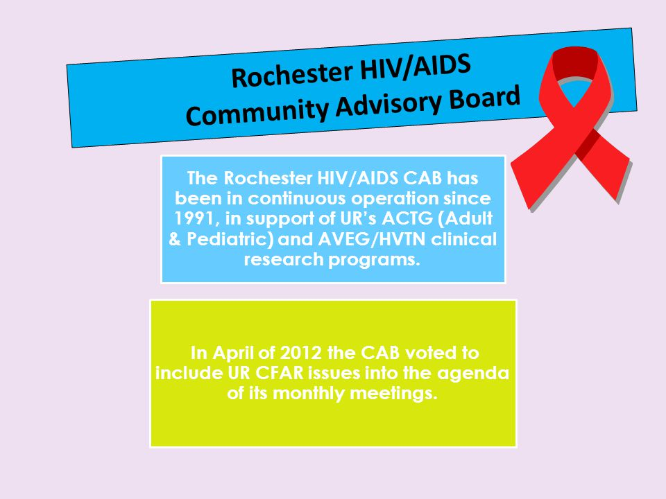 Rochester HIV/AIDS Community Advisory Board The Rochester HIV/AIDS CAB has been in continuous operation since 1991, in support of UR's ACTG (Adult & Pediatric) and AVEG/HVTN clinical research programs.