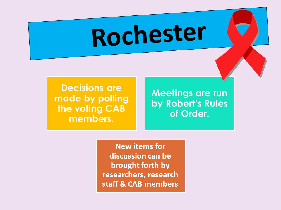 Rochester Decisions are made by polling the voting CAB members.