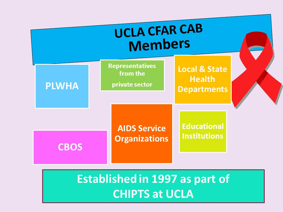 UCLA CFAR CAB Members Representatives from the private sector PLWHA Local & State Health Departments CBOS AIDS Service Organizations Educational Institutions Established in 1997 as part of CHIPTS at UCLA
