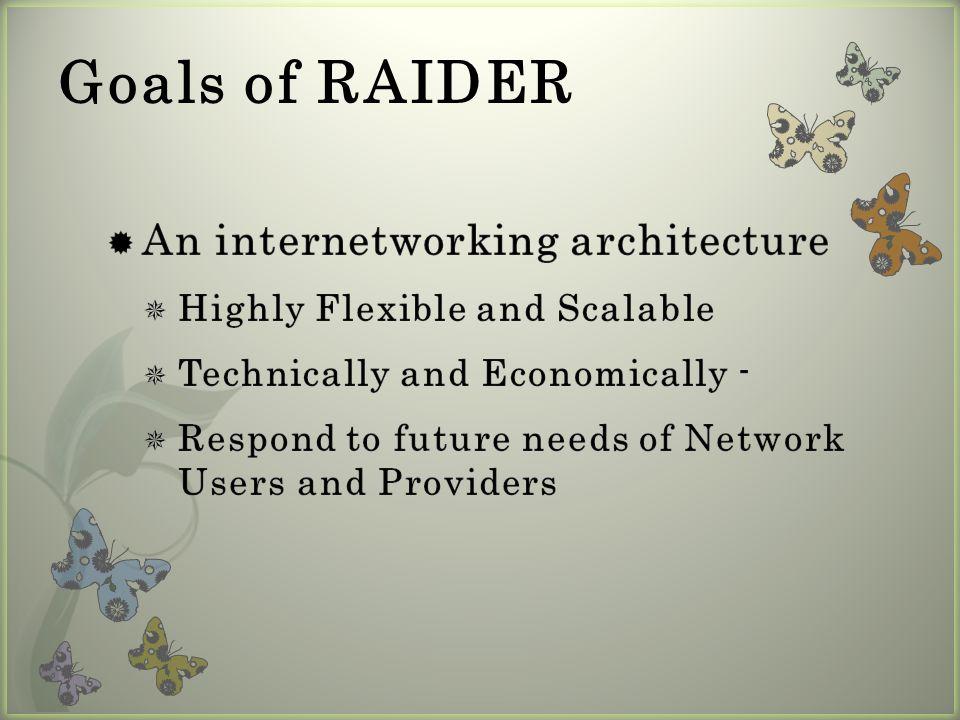 Goals of RAIDER