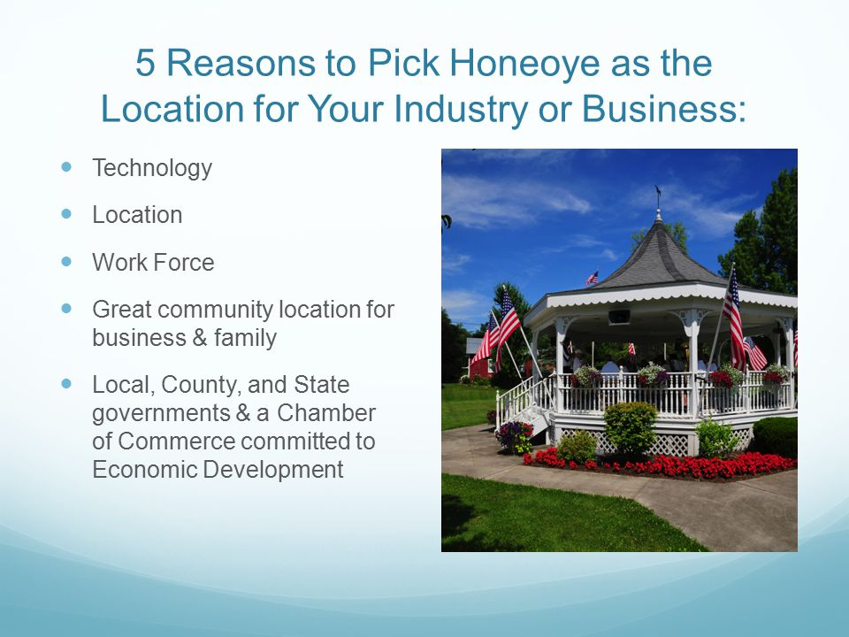 5 Reasons to Pick Honeoye as the Location for Your Industry or Business: Technology Location Work Force Great community location for business & family Local, County, and State governments & a Chamber of Commerce committed to Economic Development