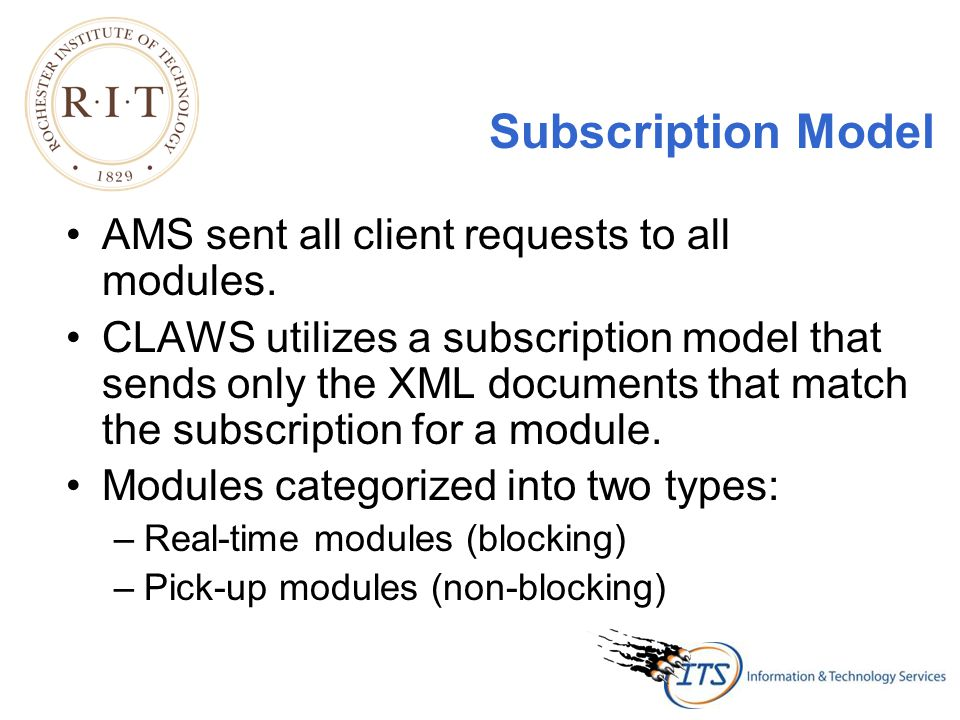 Subscription Model AMS sent all client requests to all modules.