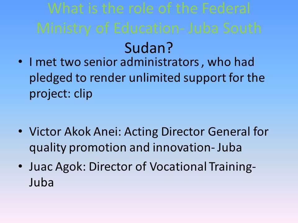 What is the role of the Federal Ministry of Education- Juba South Sudan.