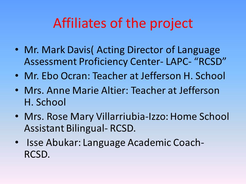 Affiliates of the project Mr.