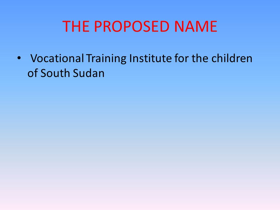THE PROPOSED NAME Vocational Training Institute for the children of South Sudan