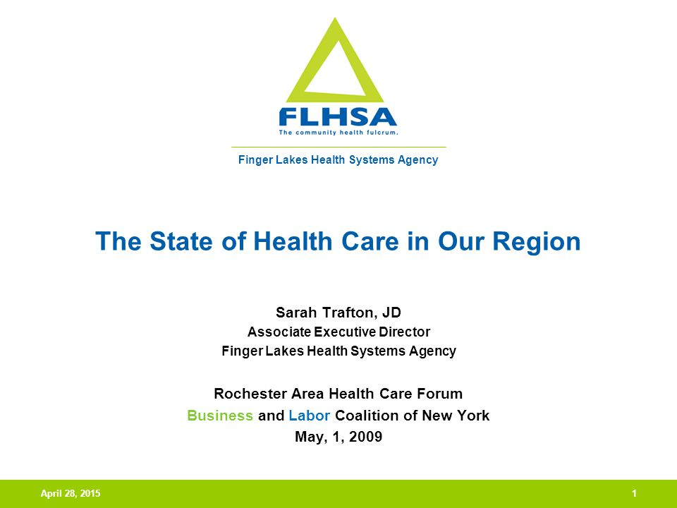 Finger Lakes Health Systems Agency April 28, 20151 The State of Health Care in Our Region Sarah Trafton, JD Associate Executive Director Finger Lakes Health Systems Agency Rochester Area Health Care Forum Business and Labor Coalition of New York May, 1, 2009