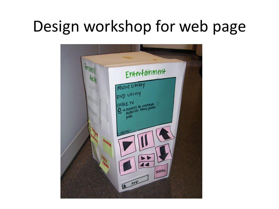 Design workshop for web page