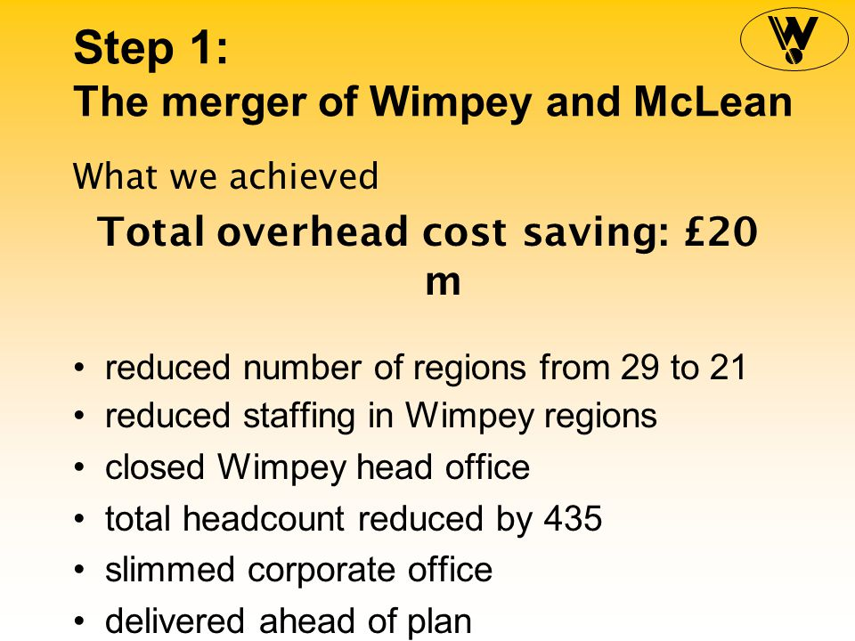 Step 1: The merger of Wimpey and McLean What we achieved Projected build cost savings: £15 m comprehensive benchmarking introduced opportunities identified in product design, product specification, and procurement processes introduced to share experiences benefits already being achieved