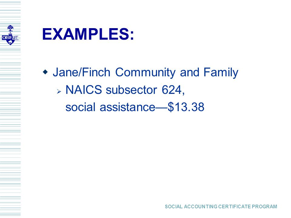 SOCIAL ACCOUNTING CERTIFICATE PROGRAM EXAMPLES:  Jane/Finch Community and Family  NAICS subsector 624, social assistance—$13.38