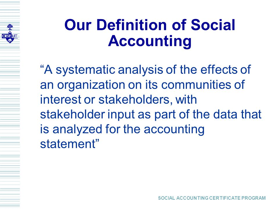 SOCIAL ACCOUNTING CERTIFICATE PROGRAM MEASURING VOLUNTEER VALUE  One value for all too limiting  OUR PREFERENCE: MARKET COMPARISONS  North American Industry Classification System (NAICS) jointly developed by the statistics agencies of Canada, the U.S., and Mexico classifies organizations (e.g., nonprofits) according to economic activity  www.statcan.ca/english/Subjects/Standard/ index.htm
