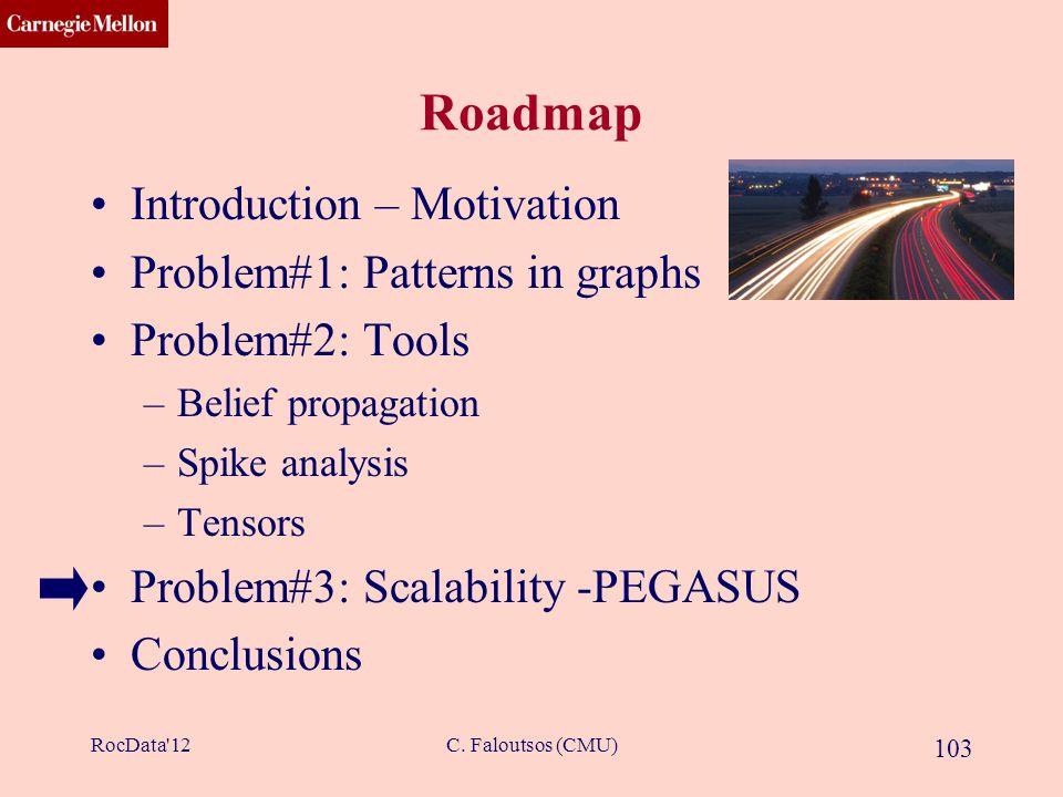 CMU SCS C. Faloutsos (CMU) 103 Roadmap Introduction – Motivation Problem#1: Patterns in graphs Problem#2: Tools –Belief propagation –Spike analysis –T