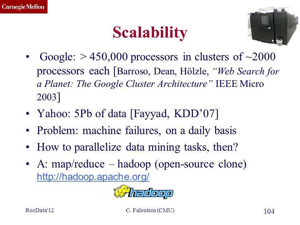 "CMU SCS RocData'12C. Faloutsos (CMU) 104 Scalability Google: > 450,000 processors in clusters of ~2000 processors each [ Barroso, Dean, Hölzle, ""Web S"