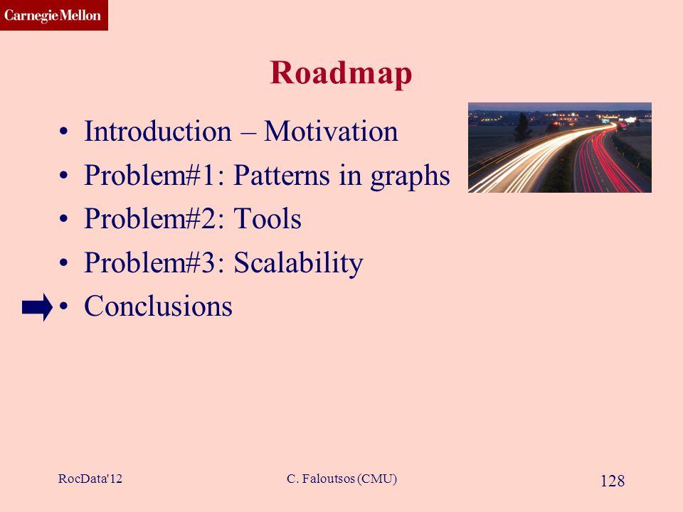 CMU SCS C. Faloutsos (CMU) 128 Roadmap Introduction – Motivation Problem#1: Patterns in graphs Problem#2: Tools Problem#3: Scalability Conclusions Roc