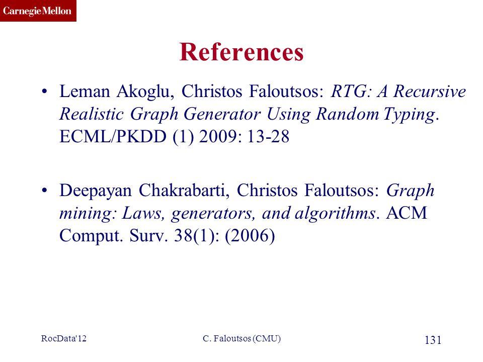 CMU SCS C. Faloutsos (CMU) 131 References Leman Akoglu, Christos Faloutsos: RTG: A Recursive Realistic Graph Generator Using Random Typing. ECML/PKDD