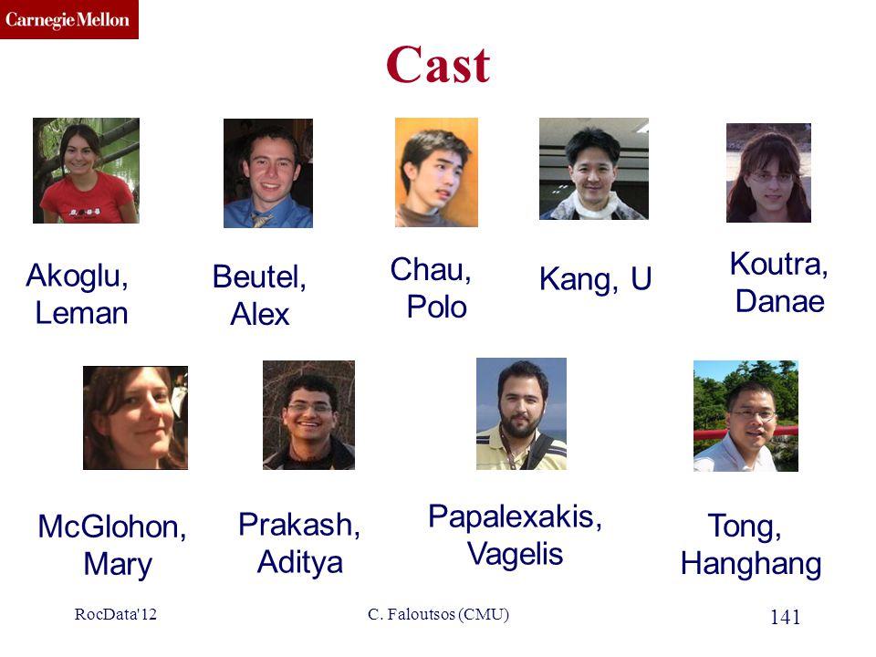 CMU SCS C. Faloutsos (CMU) 141 Cast Akoglu, Leman Chau, Polo Kang, U McGlohon, Mary Tong, Hanghang Prakash, Aditya RocData'12 Koutra, Danae Beutel, Al