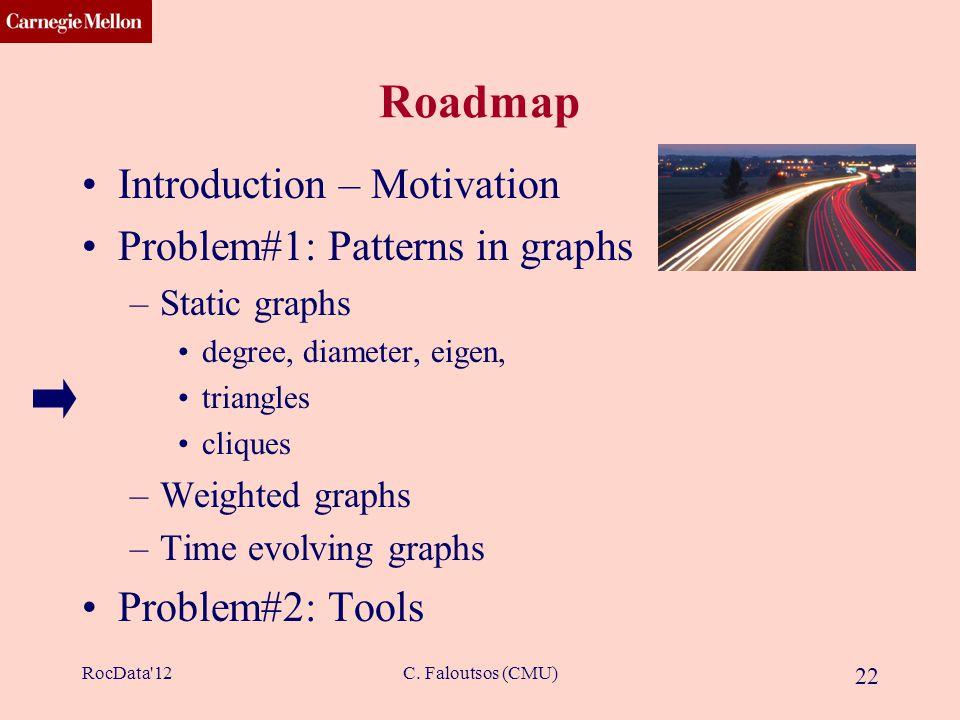 CMU SCS C. Faloutsos (CMU) 22 Roadmap Introduction – Motivation Problem#1: Patterns in graphs –Static graphs degree, diameter, eigen, triangles clique