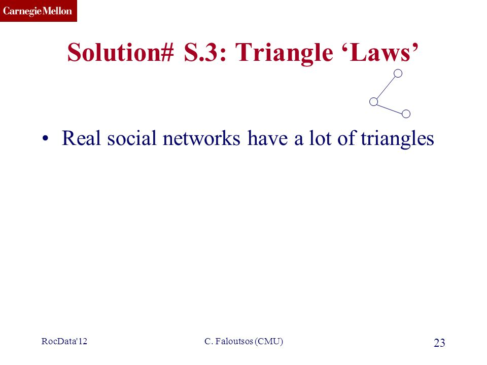 CMU SCS C. Faloutsos (CMU) 23 Solution# S.3: Triangle 'Laws' Real social networks have a lot of triangles RocData'12