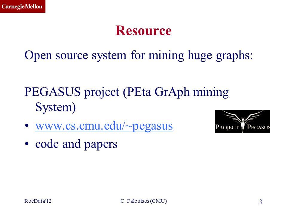 CMU SCS C. Faloutsos (CMU) 3 Resource Open source system for mining huge graphs: PEGASUS project (PEta GrAph mining System) www.cs.cmu.edu/~pegasus co
