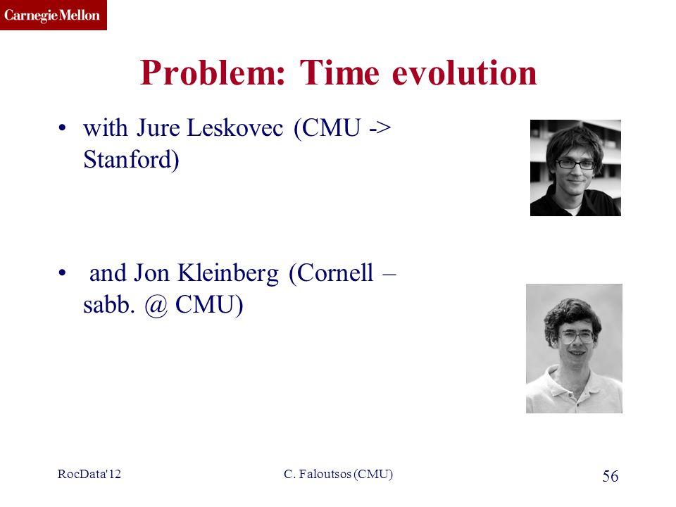 CMU SCS C. Faloutsos (CMU) 56 Problem: Time evolution with Jure Leskovec (CMU -> Stanford) and Jon Kleinberg (Cornell – sabb. @ CMU) RocData'12