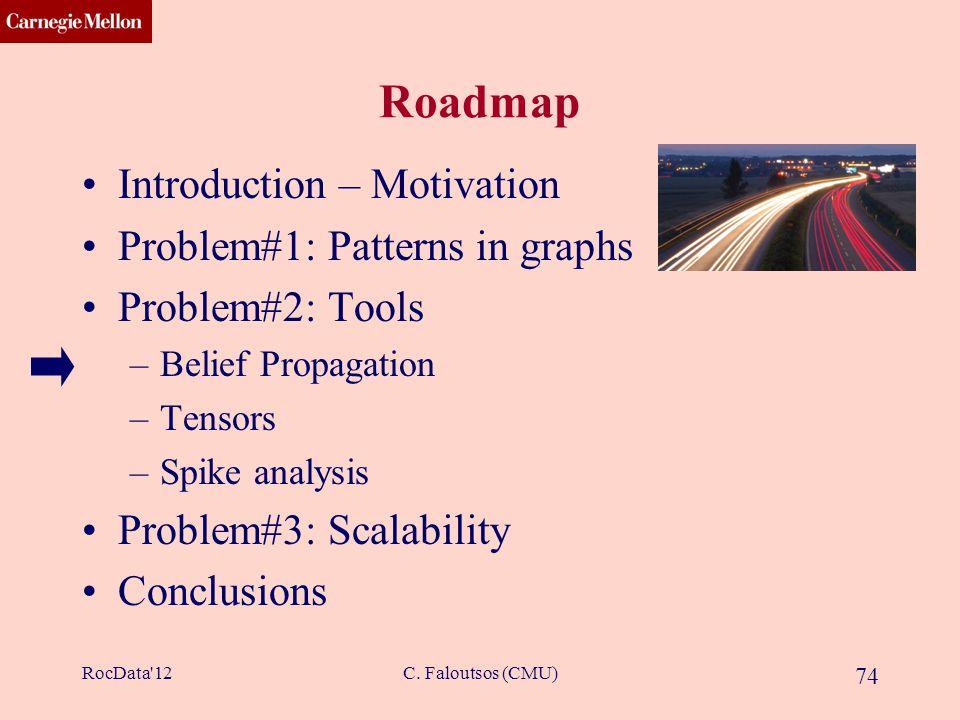 CMU SCS C. Faloutsos (CMU) 74 Roadmap Introduction – Motivation Problem#1: Patterns in graphs Problem#2: Tools –Belief Propagation –Tensors –Spike ana