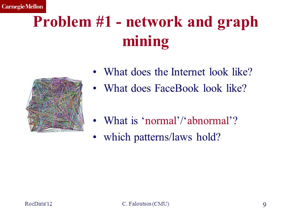 CMU SCS C. Faloutsos (CMU) 9 Problem #1 - network and graph mining What does the Internet look like? What does FaceBook look like? What is 'normal'/'a