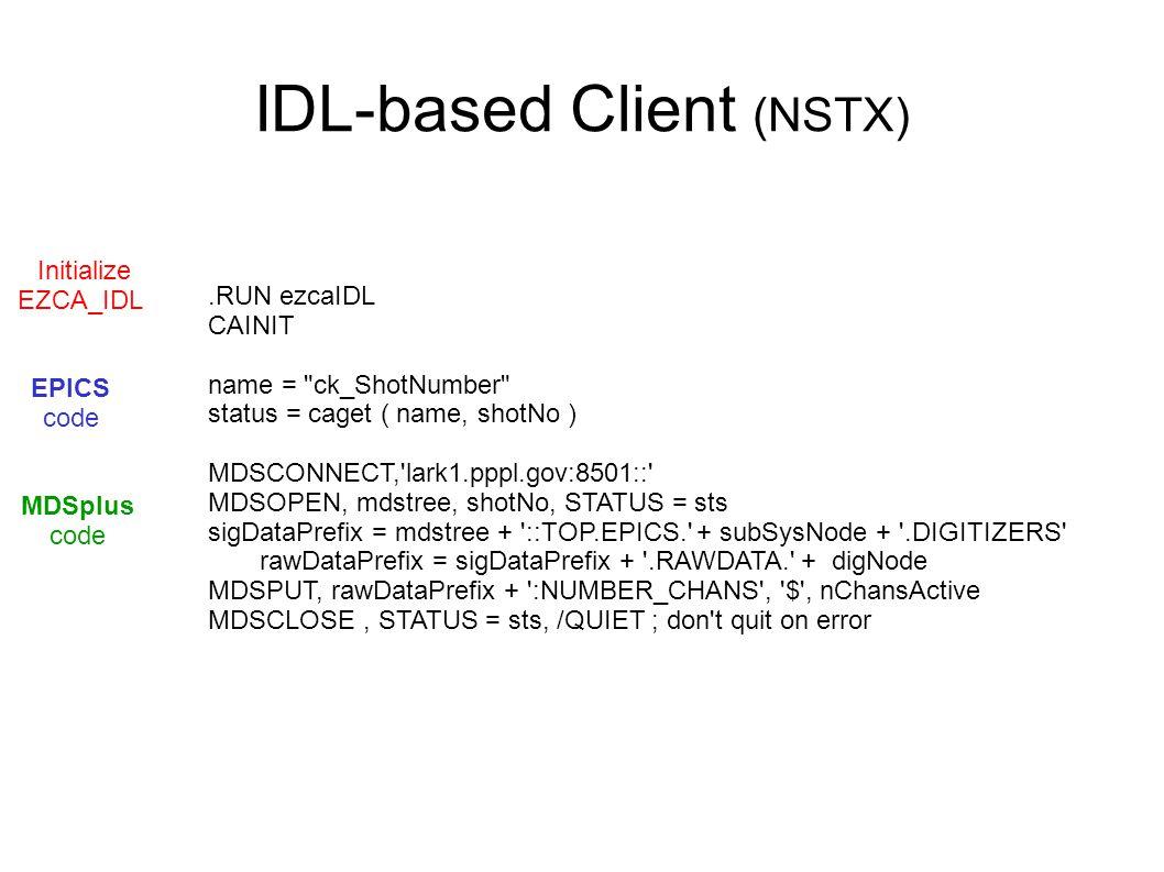 IDL-based Client (NSTX).RUN ezcaIDL CAINIT name = ck_ShotNumber status = caget ( name, shotNo ) MDSCONNECT, lark1.pppl.gov:8501:: MDSOPEN, mdstree, shotNo, STATUS = sts sigDataPrefix = mdstree + ::TOP.EPICS. + subSysNode + .DIGITIZERS rawDataPrefix = sigDataPrefix + .RAWDATA. + digNode MDSPUT, rawDataPrefix + :NUMBER_CHANS , $ , nChansActive MDSCLOSE, STATUS = sts, /QUIET ; don t quit on error Initialize EZCA_IDL EPICS code MDSplus code
