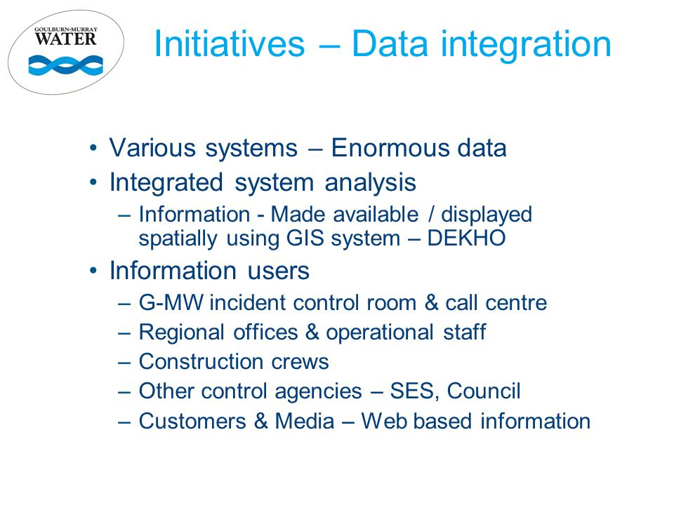 Initiatives – Data integration Various systems – Enormous data Integrated system analysis –Information - Made available / displayed spatially using GI
