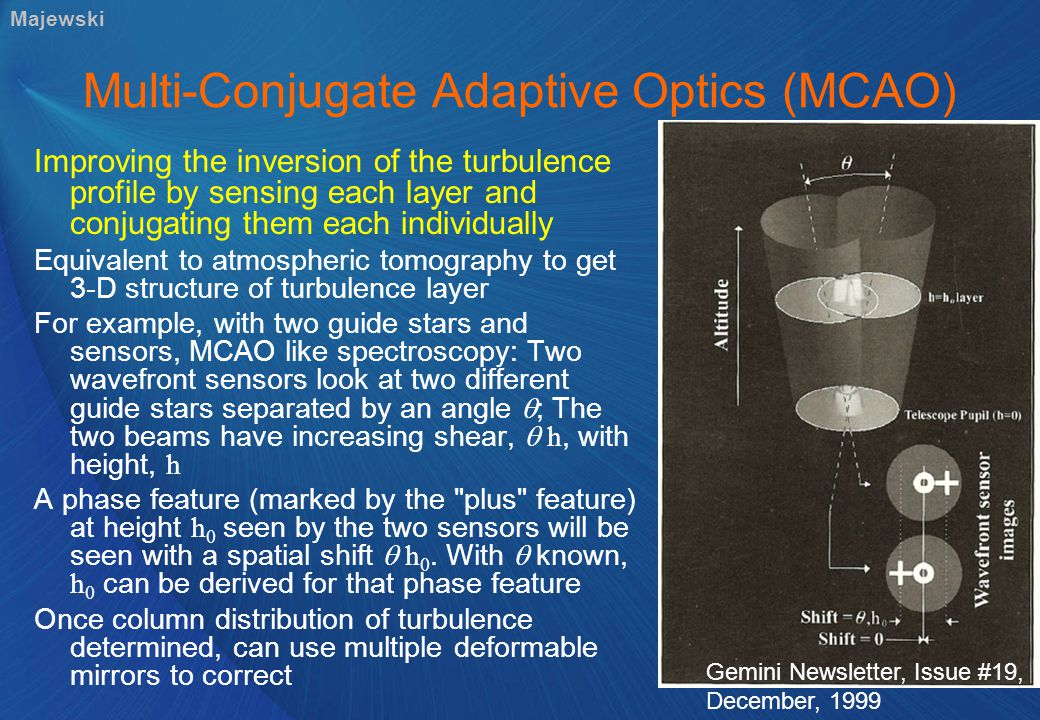 Multi-Conjugate Adaptive Optics (MCAO) Improving the inversion of the turbulence profile by sensing each layer and conjugating them each individually Equivalent to atmospheric tomography to get 3-D structure of turbulence layer For example, with two guide stars and sensors, MCAO like spectroscopy: Two wavefront sensors look at two different guide stars separated by an angle  ; The two beams have increasing shear,  h, with height, h A phase feature (marked by the plus feature) at height h 0 seen by the two sensors will be seen with a spatial shift  h 0.