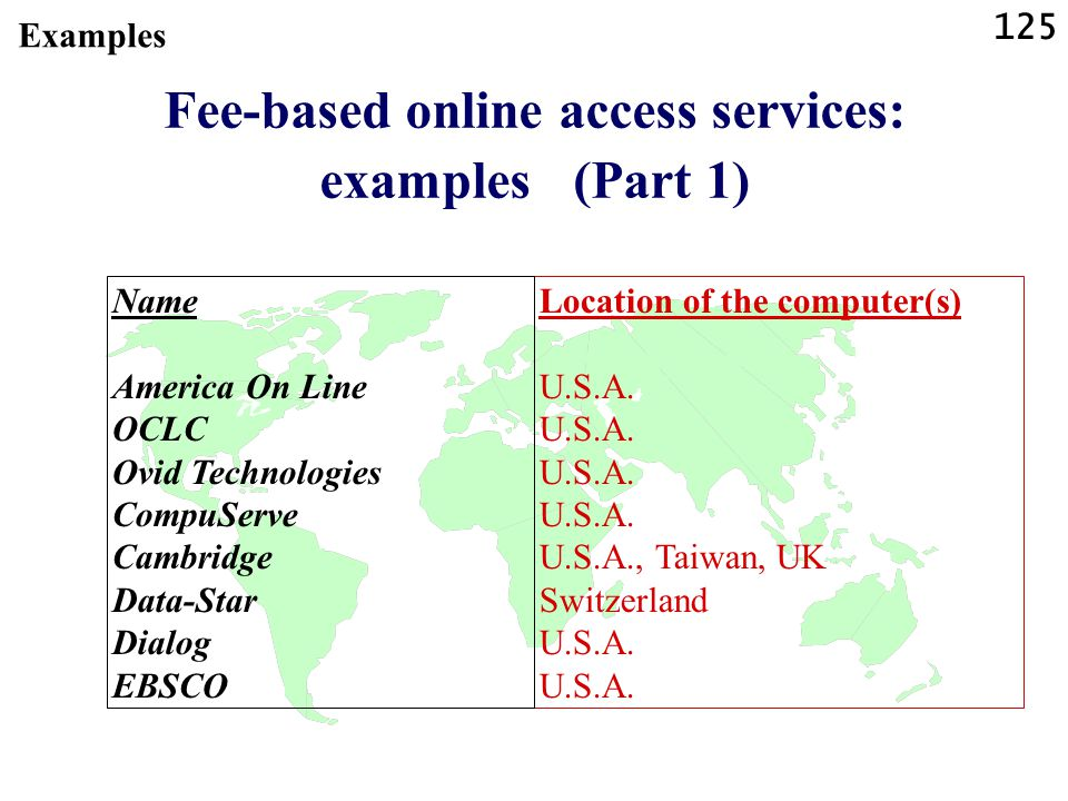 125 Fee-based online access services: examples (Part 1) Location of the computer(s)U.S.A.