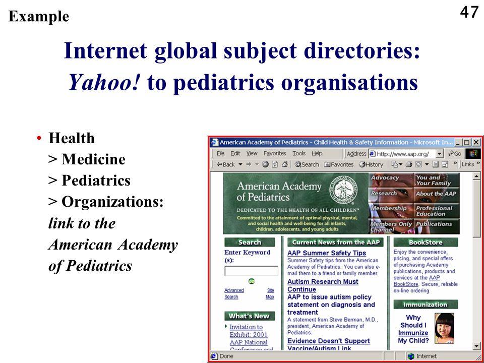 47 Internet global subject directories: Yahoo.
