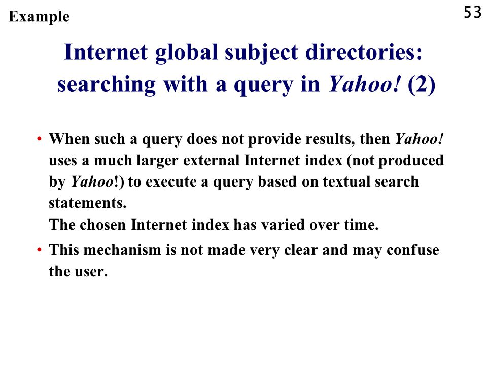 53 Internet global subject directories: searching with a query in Yahoo.