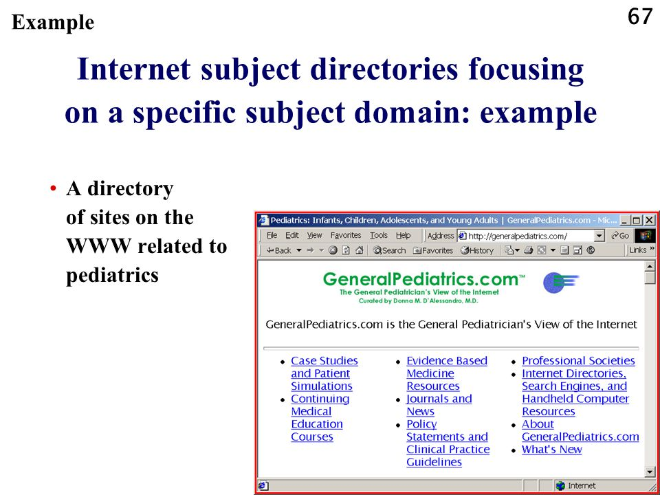 67 Internet subject directories focusing on a specific subject domain: example A directory of sites on the WWW related to pediatrics Example