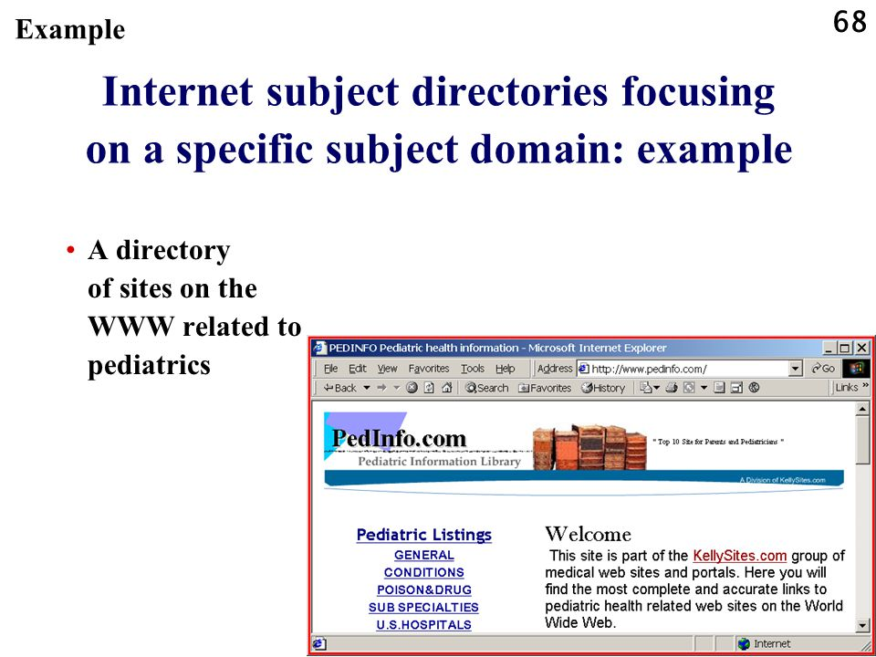 68 Internet subject directories focusing on a specific subject domain: example A directory of sites on the WWW related to pediatrics Example