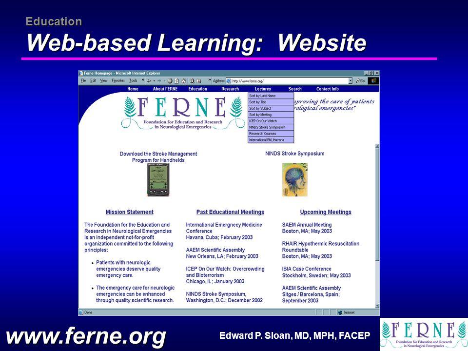 Edward P. Sloan, MD, MPH, FACEP Education Web-based Learning: Website www.ferne.org